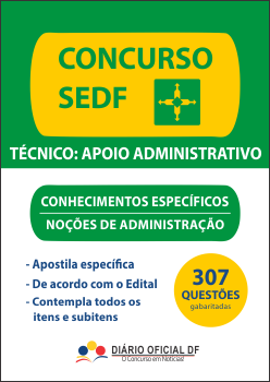 apostila SEDF Nocoes Administracao NA capa - Concurso SEDF 2016: Saiu o edital para os cargos de Professor, Analista, Técnico e Monitor, são 2,9 mil vagas