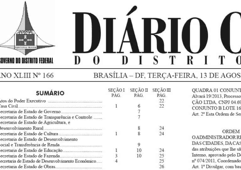 Publicações de resultados e convocações no DODF – 13/08/2013