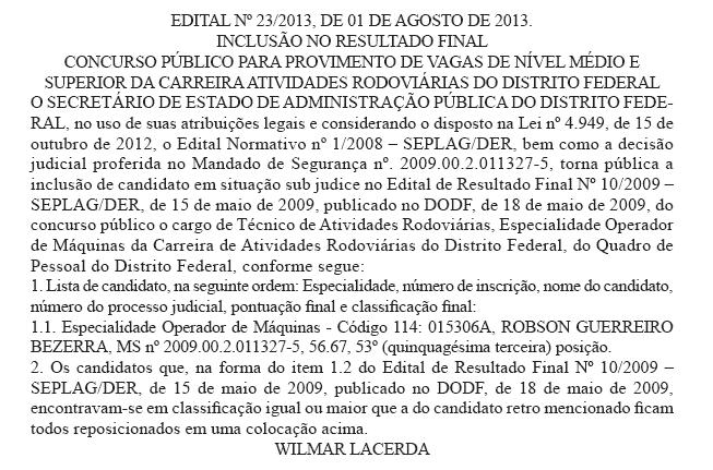 post DER - Inclusão no resultado final - SEPLAG/DER