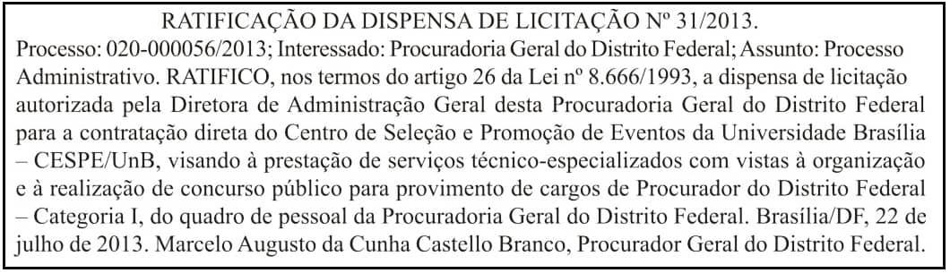 post PGDF - PGDF contrata Cespe/Unb para organizar novo concurso