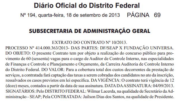 DODF 194 - Autorizado concurso para Auditor de Controle Interno com 60 vagas