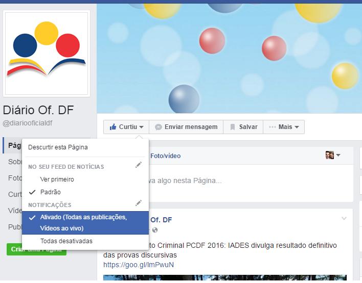 fanpage DODF - Facebook do DODF Concursos: Como receber todas as atualizações de nossa fanpage?