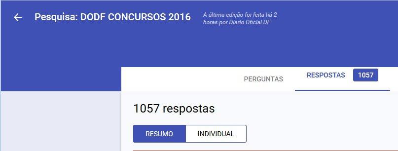 1057 respostas Pesquisa - Pesquisa: DODF CONCURSOS 2016 - Resultado do Sorteio