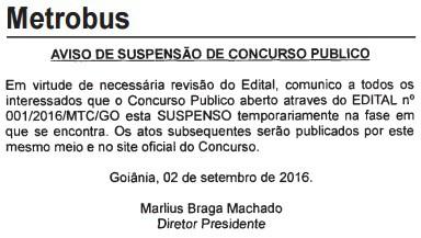 suspensao concurso metrobus go - Concurso Metrobus GO 2016: Certame para 238 vagas está suspenso