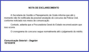 notaSegplan 300x175 - Concurso Polícia Civil-GO PCGO 2016: TJGO suspende certame para Agentes e Escrivães de Polícia substitutos de Goiás