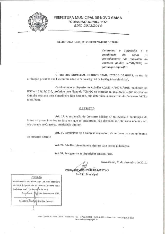 suspensao concurso novo gama go 1 - Concurso Prefeitura de Novo Gama - GO 2016: Certame está suspenso