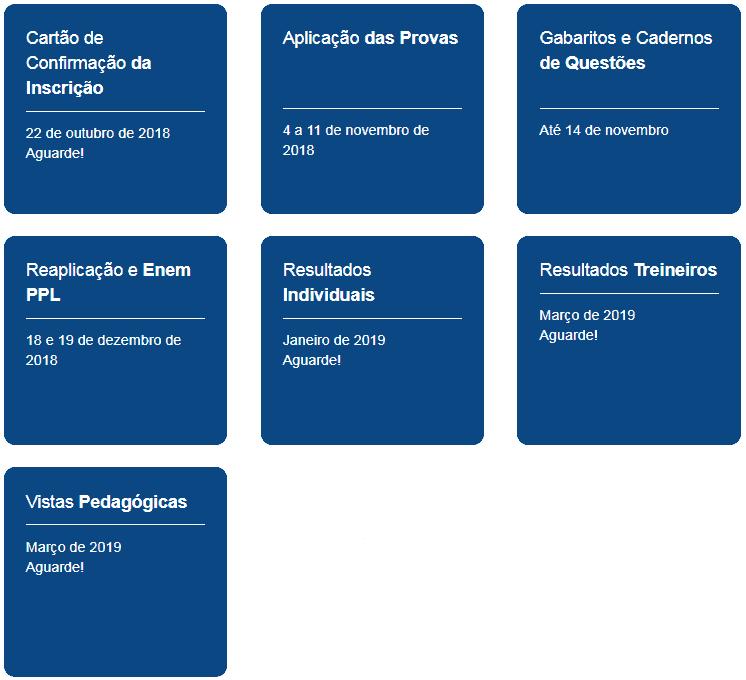CRONOGRAMA ENEM 2018 - ENEM 2018: Confira os locais de provas. Provas 4 e 11 de Novembro