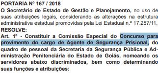 concurso agente penitenciario go 2018 comissao - Concurso Agente Penitenciário GO 2019: SEAP GO assina contrato com banca IADES. São 500 vagas!