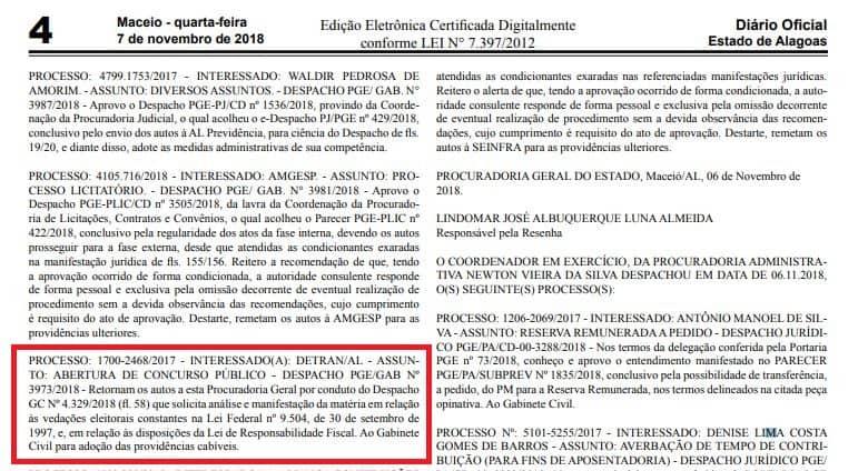 concurso detran al despacho - Concurso Detran AL: Edital está próximo! São 40 vagas!