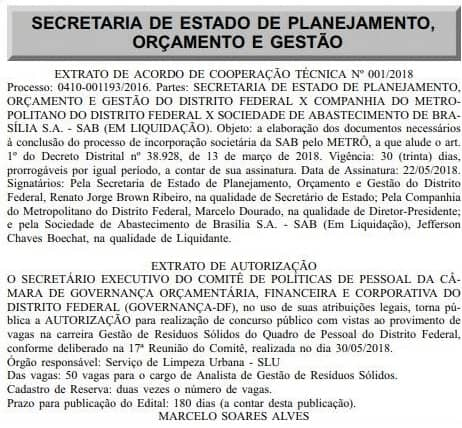 concurso slu df 2019 autorizacao - Concurso SLU DF 2019: Edital está previsto para janeiro de 2019. São 150 vagas!