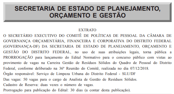 concurso slu df 2019 prorrogacao edital - Concurso SLU DF 2019: Edital está previsto para janeiro de 2019. São 150 vagas!