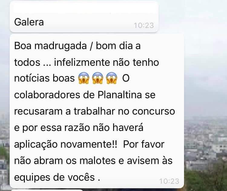 mensagem - Concurso Novacap DF: Problema em Planaltina pode ter causado suspensão de prova
