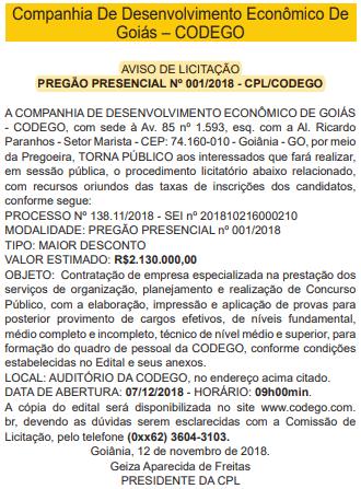 concurso codego 2019 licitacao - Concurso CODEGO 2019: Confirmado edital com 145 vagas para todos os níveis! Até R$8.994,72!