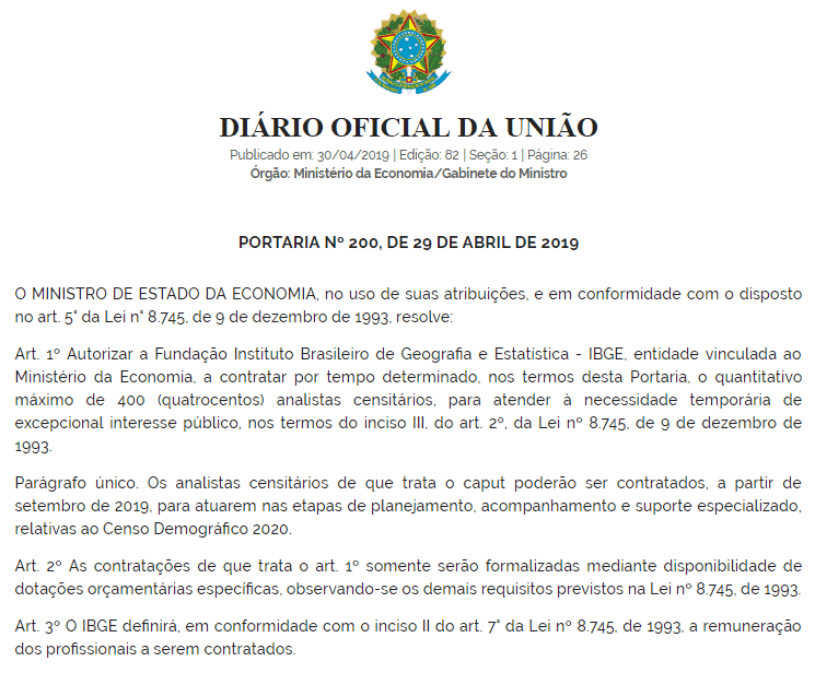 concurso ibge 2019 analista censitario portaria - Concurso IBGE 2019: Instituto AOCP é organizador do certame para 400 vagas para Analista Censitário