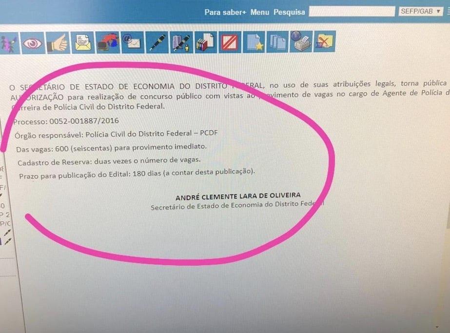 concurso pcdf 2019 agente policia documento sei - Concurso PCDF: AUTORIZADO Edital para Agente com 1,8 mil vagas