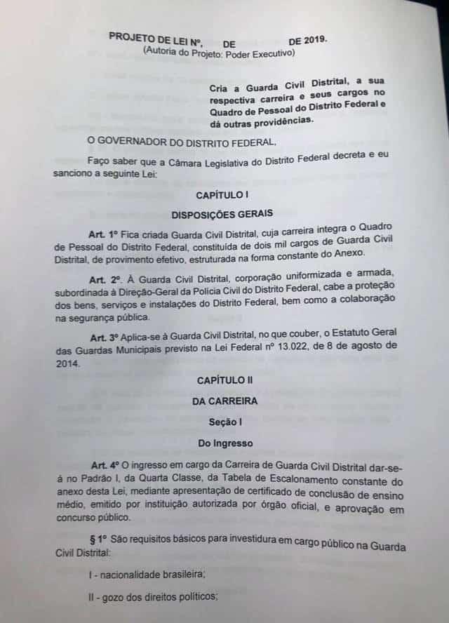 Minuta Guarda Civil Distrital - Concurso Guarda Civil Distrital (GCD): GDF quer criar com 2 mil vagas