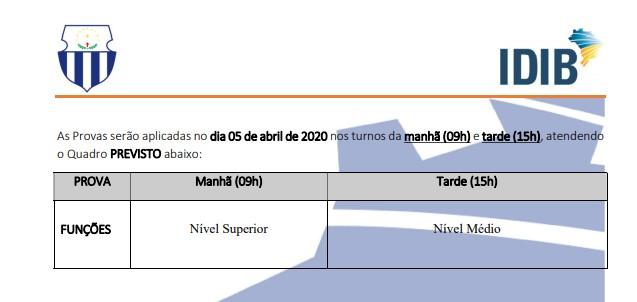 HORARIO PROVAS - Concurso Prefeitura de Salgueiro PE 2020