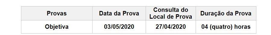 data da prova - Concurso IAT PR 2020: Inscrições Encerradas