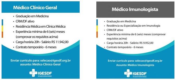 vagas iges df 01 - Aberta seleção de médicos no Iges-DF. Salários de até R$ 14,3 mil
