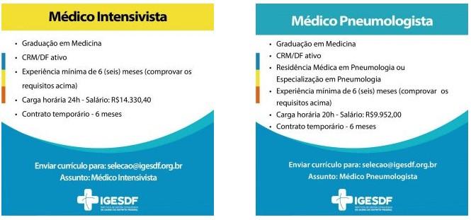 vagas iges df 02 - Aberta seleção de médicos no Iges-DF. Salários de até R$ 14,3 mil