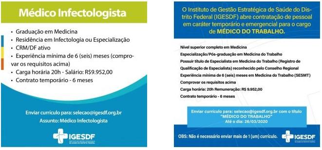 vagas iges df 03 - Aberta seleção de médicos no Iges-DF. Salários de até R$ 14,3 mil