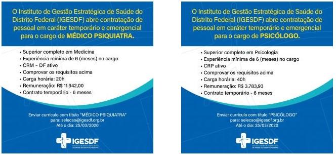 vagas iges df 04 - Aberta seleção de médicos no Iges-DF. Salários de até R$ 14,3 mil