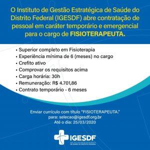 vagas iges df 05 - Aberta seleção de médicos no Iges-DF. Salários de até R$ 14,3 mil