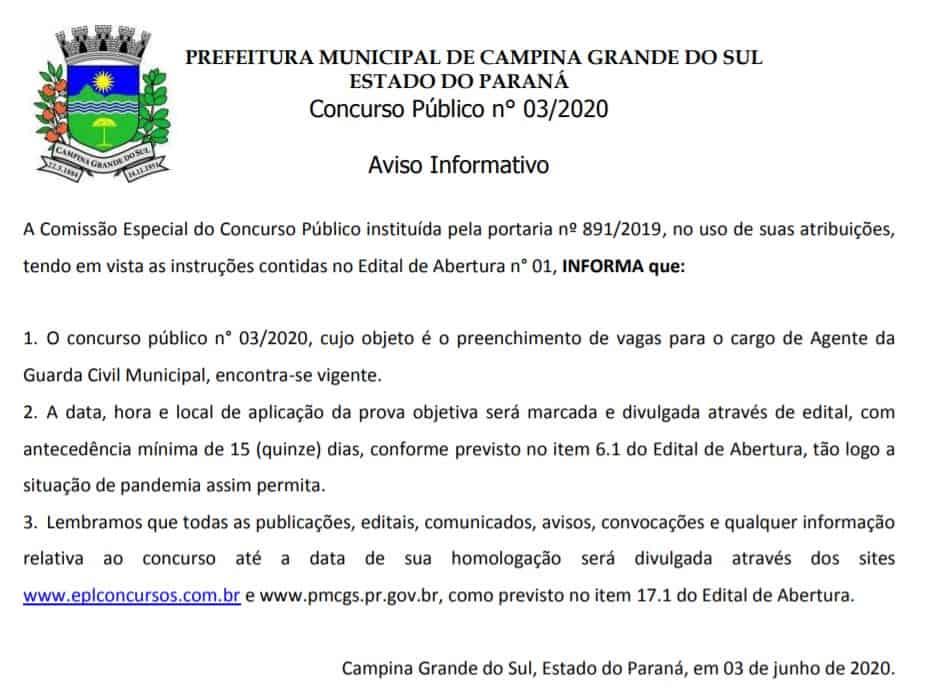 concurso - Concurso GCM Campina Grande do Sul PR: Inscrições encerradas