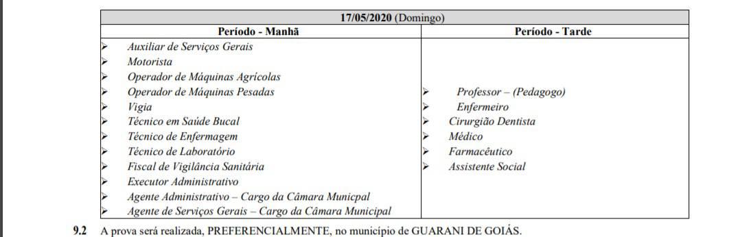 provas 3 1 - Concurso Câmara Municipal de Guarani GO: Inscrições Encerradas