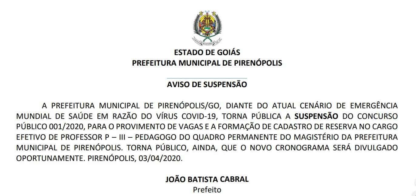 suspensao concurso pirenopolis - Concurso Prefeitura de Pirenópolis Suspenso