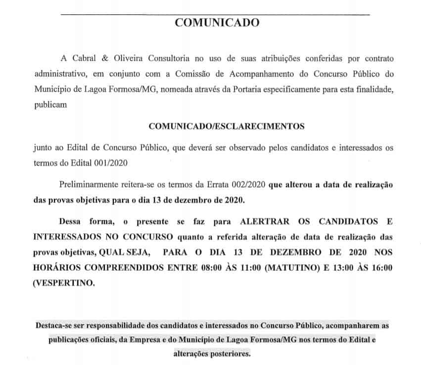 comunicado - Concurso Prefeitura de Lagoa Formosa MG