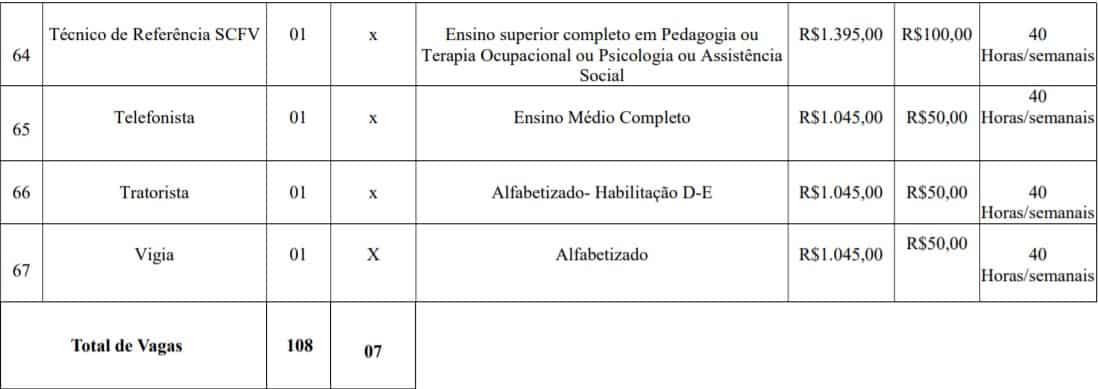 cargos lotes 10 - Concurso Prefeitura de Imbé MG: Inscrições abertas com 108 vagas
