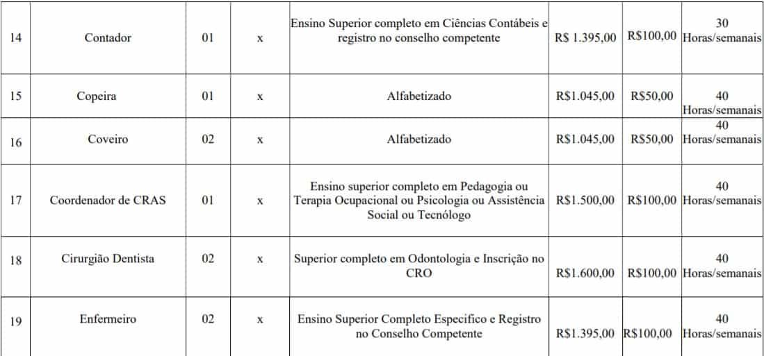 cargos lotes 2 - Concurso Prefeitura de Imbé MG: Inscrições abertas com 108 vagas