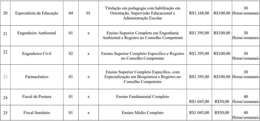 cargos lotes 3 - Concurso Prefeitura de Imbé MG: Inscrições abertas com 108 vagas