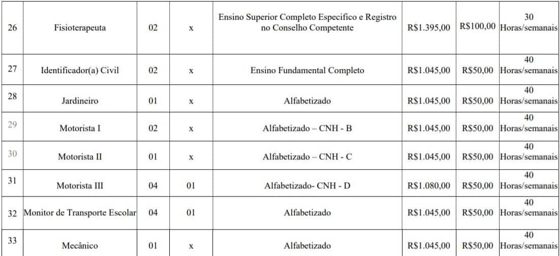 cargos lotes 4 - Concurso Prefeitura de Imbé MG: Inscrições abertas com 108 vagas