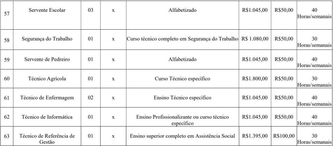 cargos lotes 9 - Concurso Prefeitura de Imbé MG