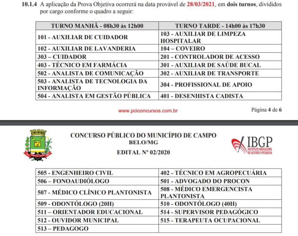 provas.ibgp  - Processo Seletivo Prefeitura de Campo Belo MG: Provas previstas para o dia 28/03/21