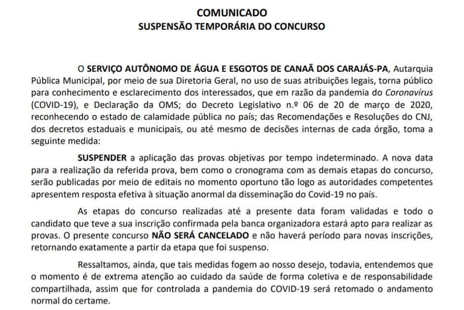 saee - Concurso SAAE de Canaã dos Carajás PA: Suspenso temporariamente
