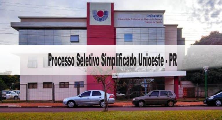 Processo Seletivo Simplificado Unioeste – PR: Inscrições encerradas