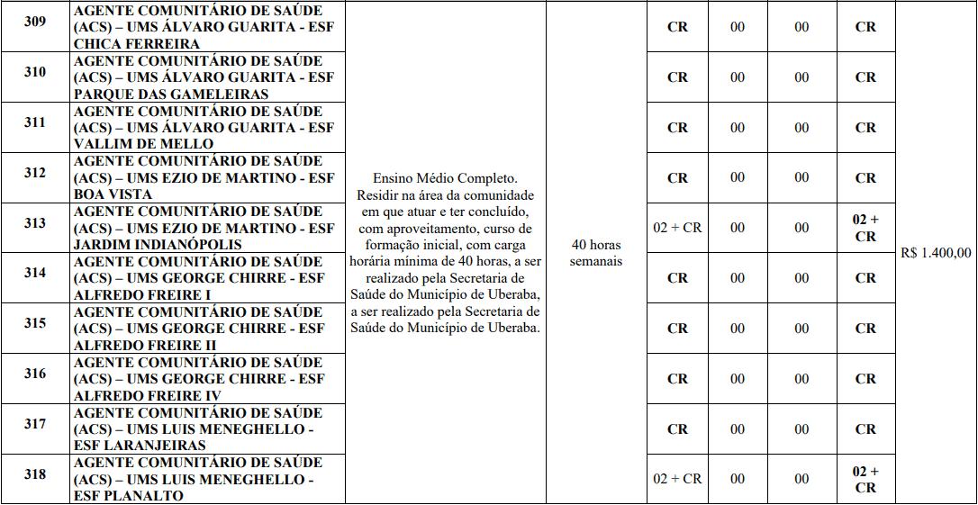 cargos 1 169 - Processo Seletivo Prefeitura de Uberaba MG