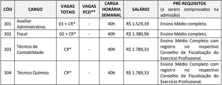 cargos 1 67 - Concurso SAAE Ibiraçu ES