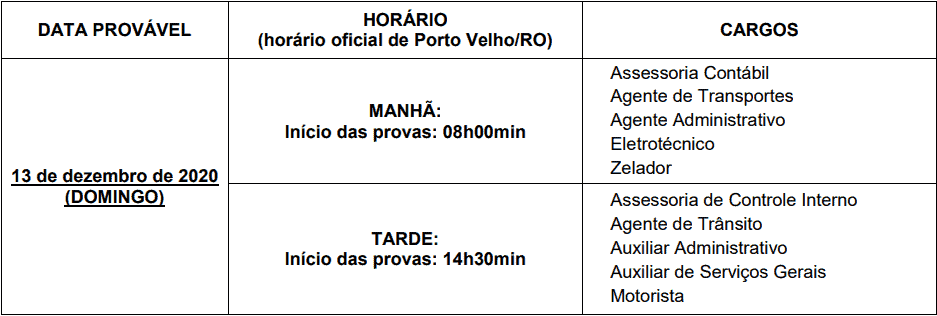 provas objetivas 1 142 - Concurso AMT de Ji-Paraná-RO 2020