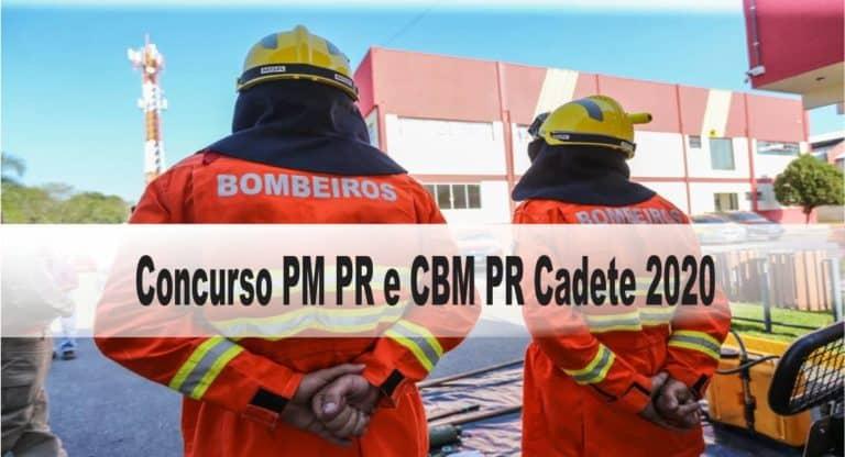 Concurso PM PR e CBM PR Cadete 2020: Prova (1ª fase): 28 de fevereiro de 2021 e Prova (2ª fase): 18 de abril de 2021