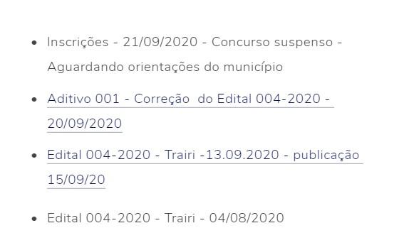 suspenso - Concurso Prefeitura de Trairi CE: Edital suspenso