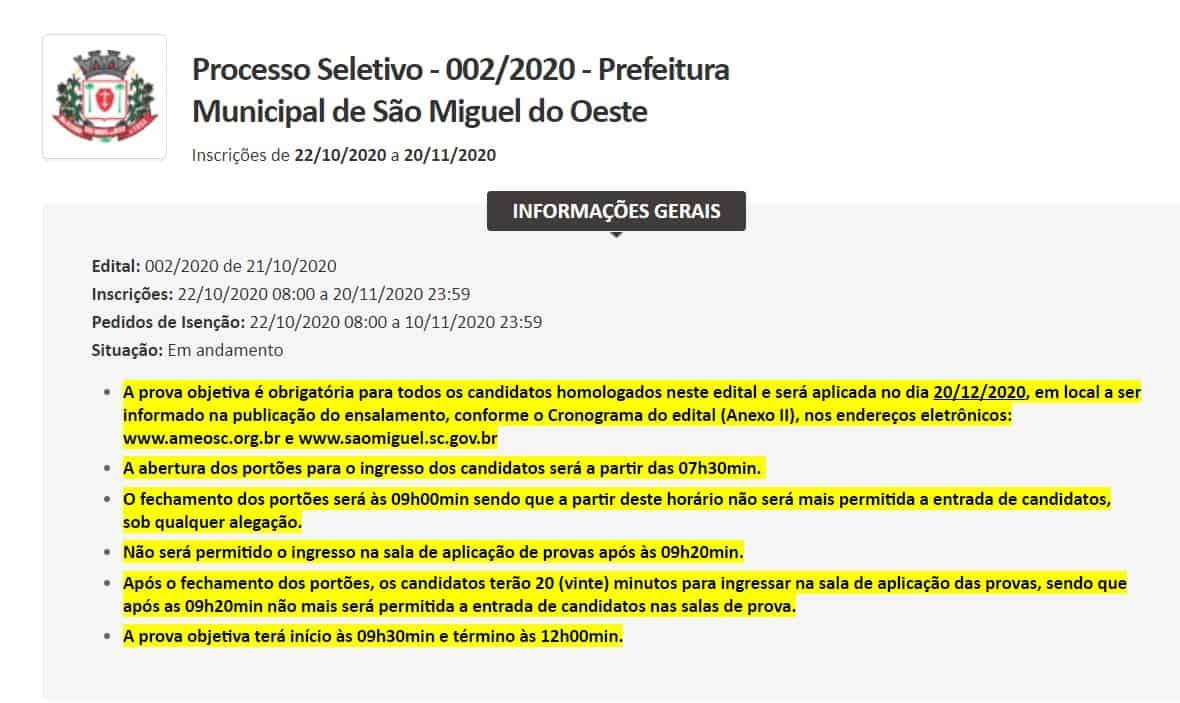0102 - Concurso Prefeitura de São Miguel do Oeste SC