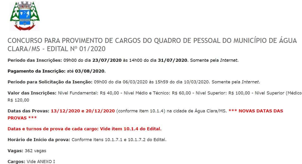 0102030 1 - Concurso Prefeitura de Água Clara MS
