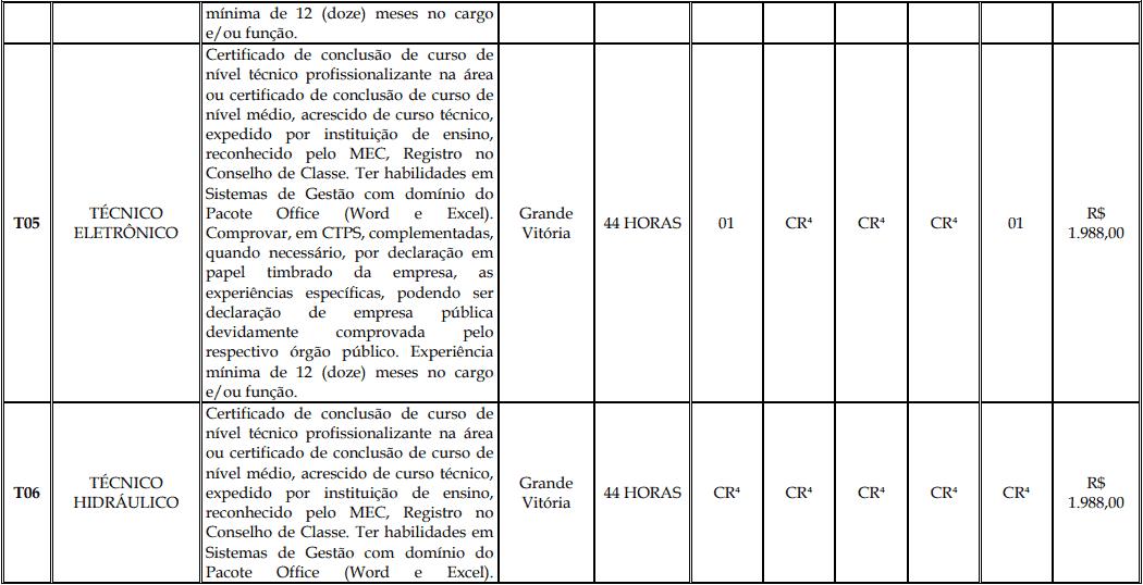 cargos 1 145 - Processo Seletivo Fundação Inova Capixaba - ES