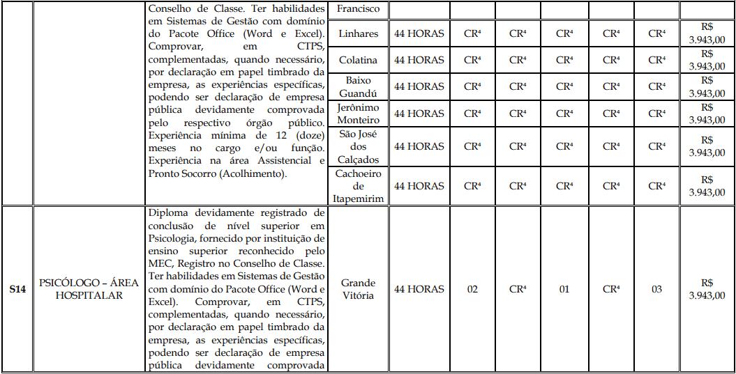 cargos 1 165 - Processo Seletivo Fundação Inova Capixaba - ES