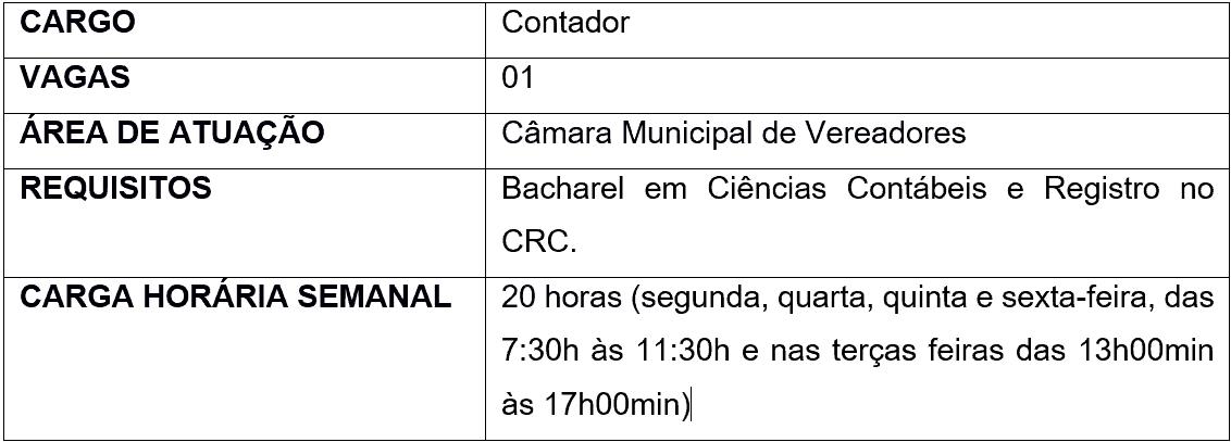 cargos 1 229 - Processo Seletivo Câmara de Presidente Castello Branco - SC: Inscrições abertas