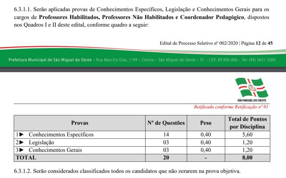 provas2 - Concurso Prefeitura de São Miguel do Oeste SC